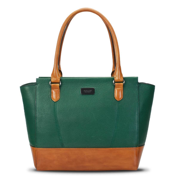 Tan With Forest Green Leather Satchel Bag By Brune