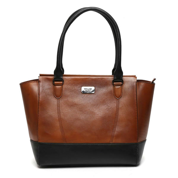 Tan With Black Combination Leather Satchel Bag By Brune