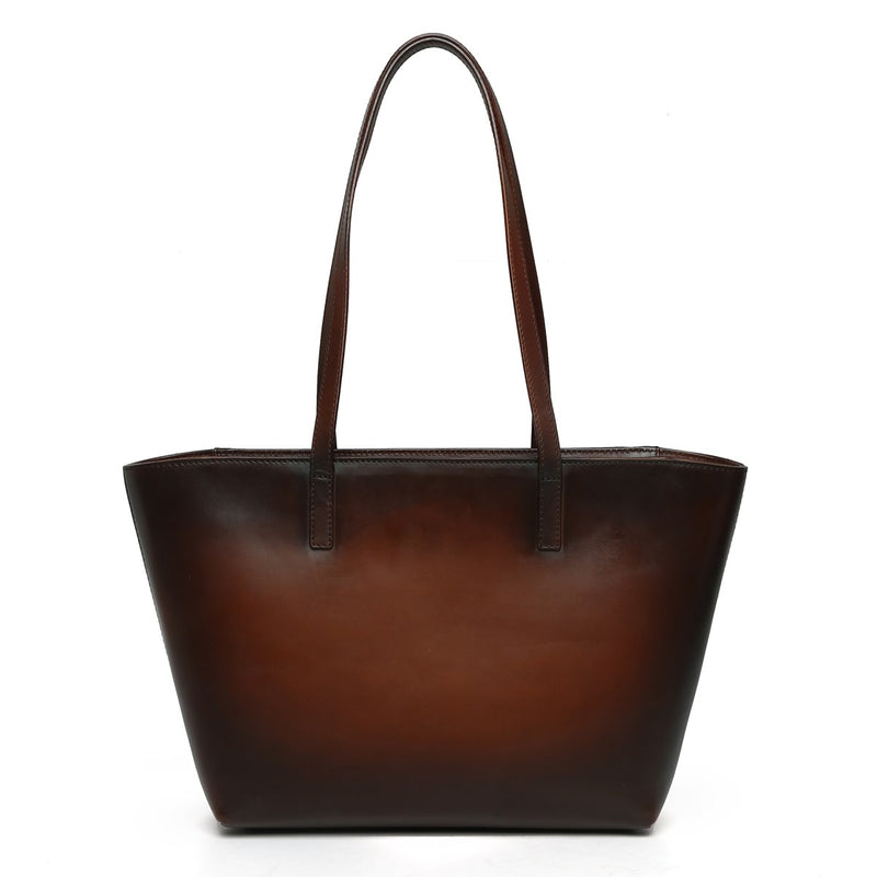 Brune Hand Painted Burnished Dark Brown Leather Hand Bag For Women