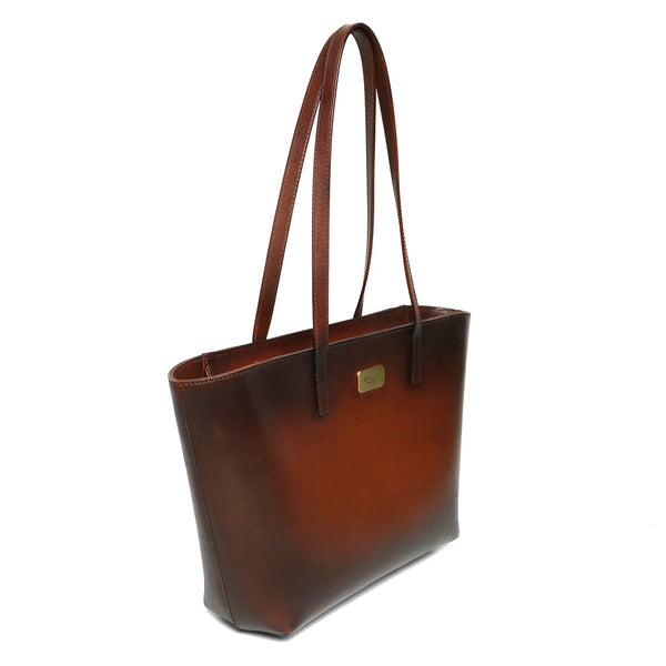 Brune Hand Painted Burnished Tan Leather Hand Bag For Women