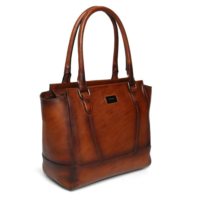 Brune Hand Painted Burnished Brown Leather Hand Bag For Women