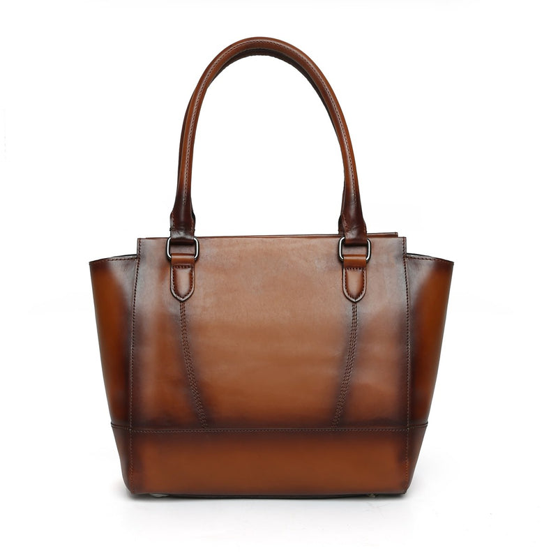 Brune Hand Painted Burnished Brown Bucket Leather Hand Bag For Women