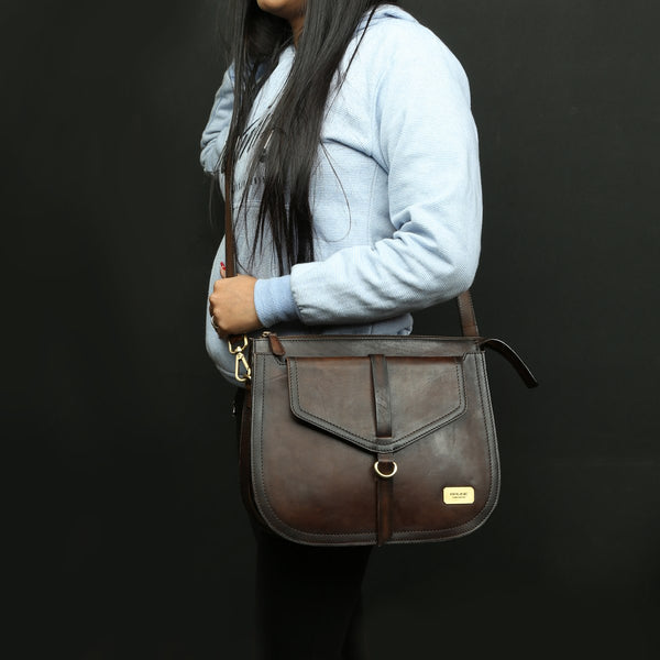 DARK BROWN RED LEATHER SLEEK LOOK LADIES BAG BY BRUNE