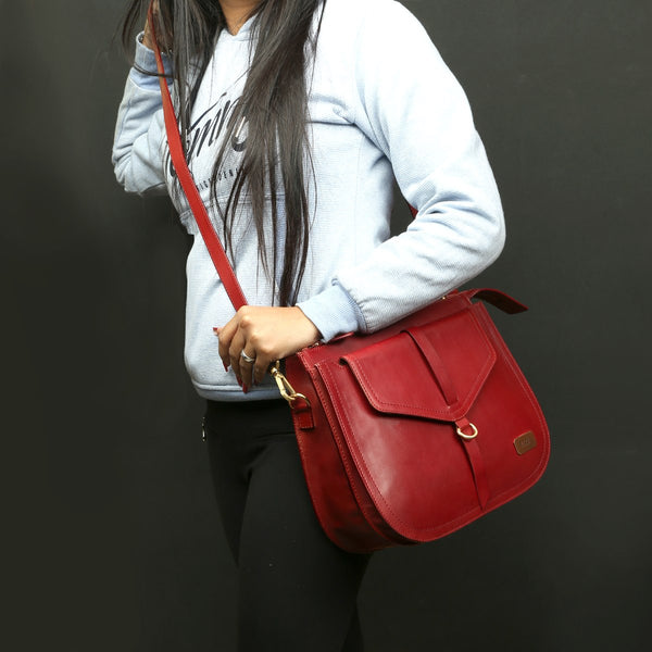 Modern Red Leather Sleek Look Ladies Bag By BRUNE