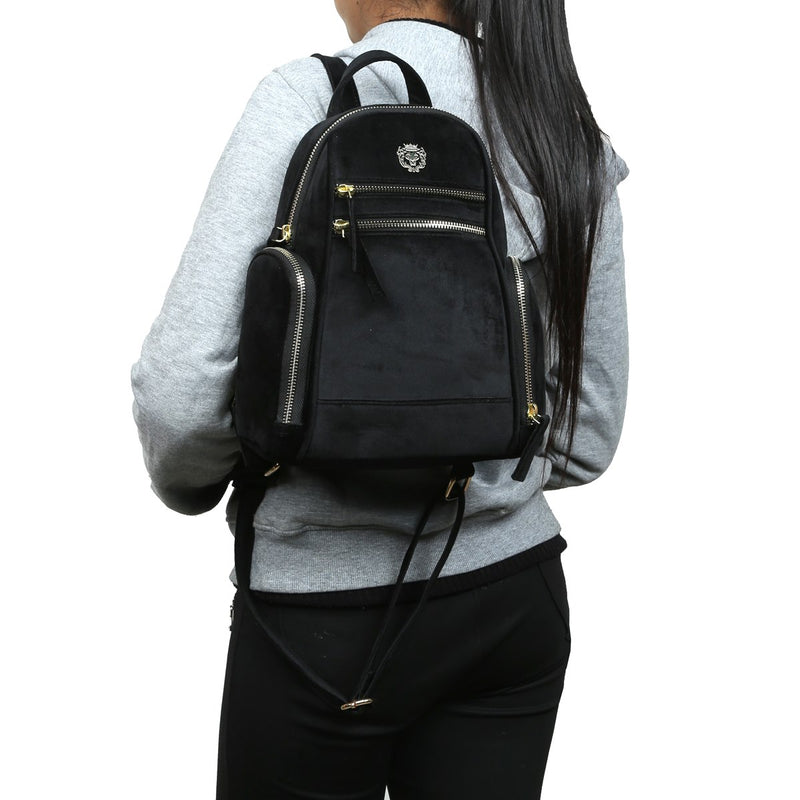 BLACK VELVET SIGNATURE METAL LION WOMEN BACKPACK BY BRUNE