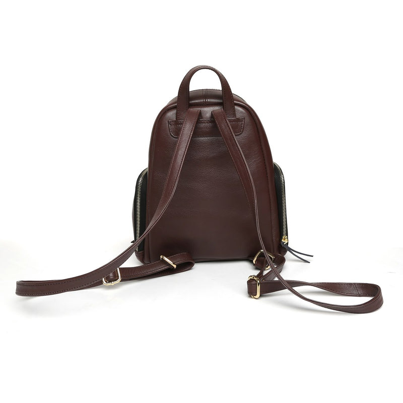Brown Leather Signature Metal Lion Women Backpack By BRUNE