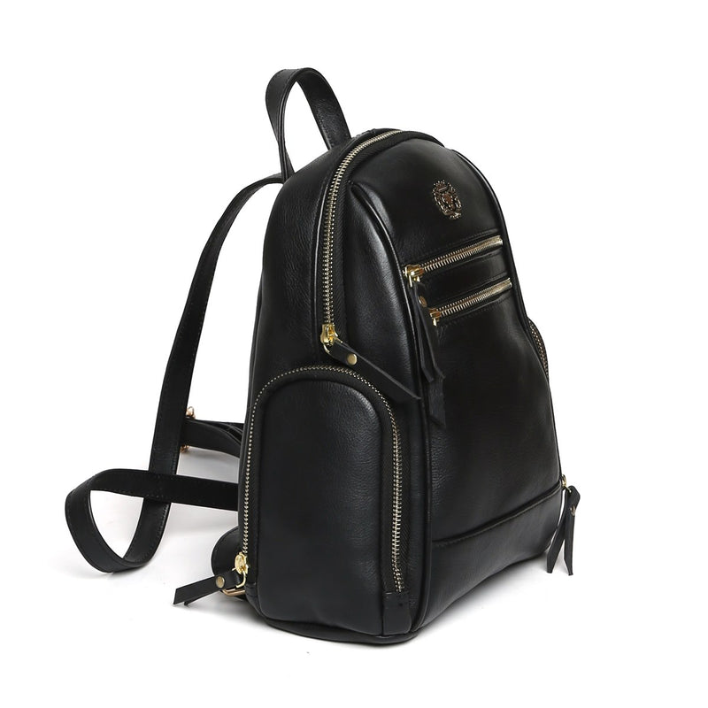BLACK LEATHER SIGNATURE METAL LION WOMEN BACKPACK BY BRUNE