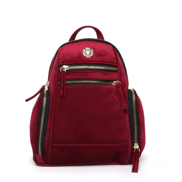 Red Velvet Signature Metal Lion Women Backpack By Brune&Bareskin