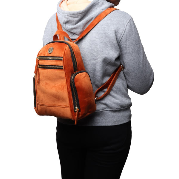 Orange Velvet Signature Metal Lion Girls Backpack By Brune&Bareskin