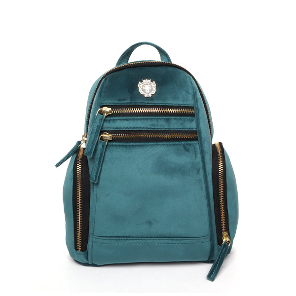 Sea Green Velvet Signature Metal Lion Girls Backpack By Brune&Bareskin