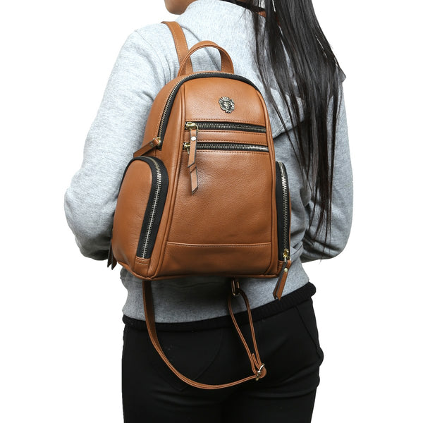 Tan Leather Signature Metal Lion Women Backpack By BRUNE