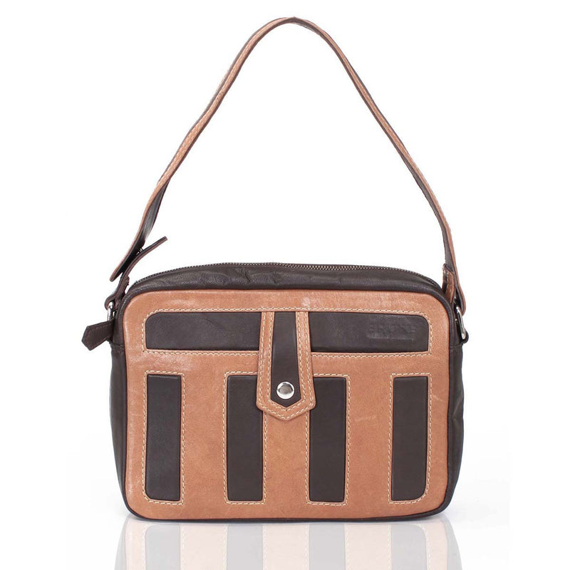 Woody Brown Ladies Leather Satchel Bag