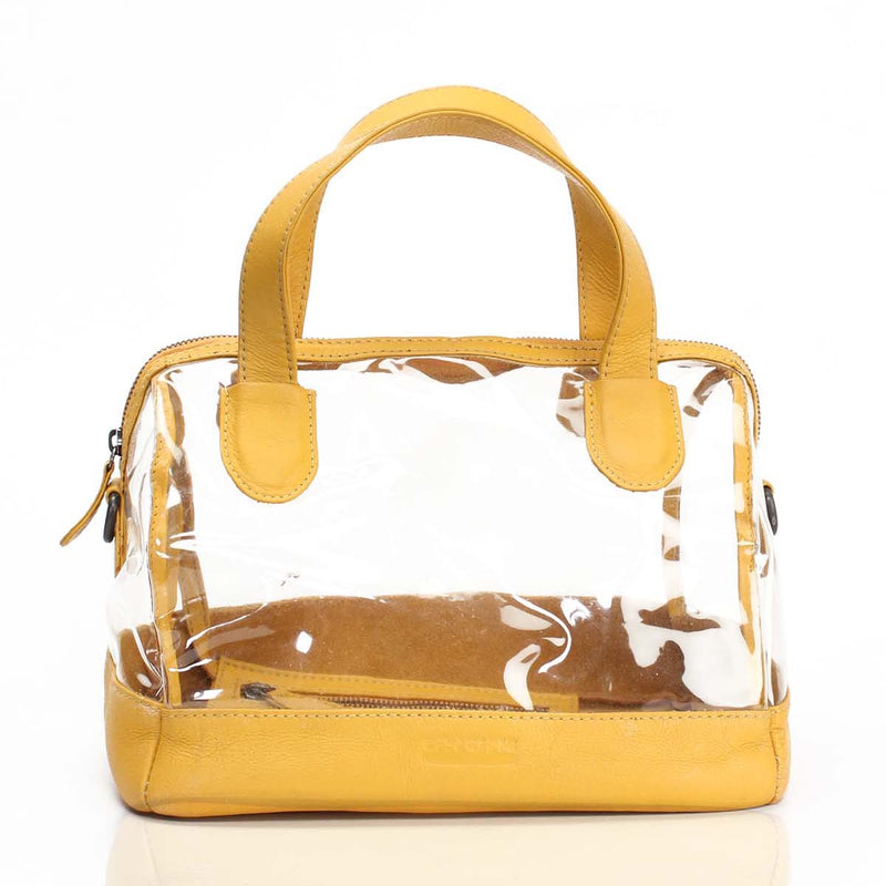 Yellow Ladies Leather Satchel Bag