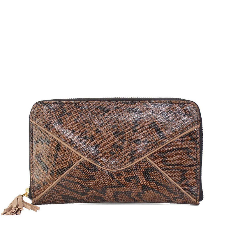 Women Clutch / Wallet In Brown Snake Print Leather By Brune