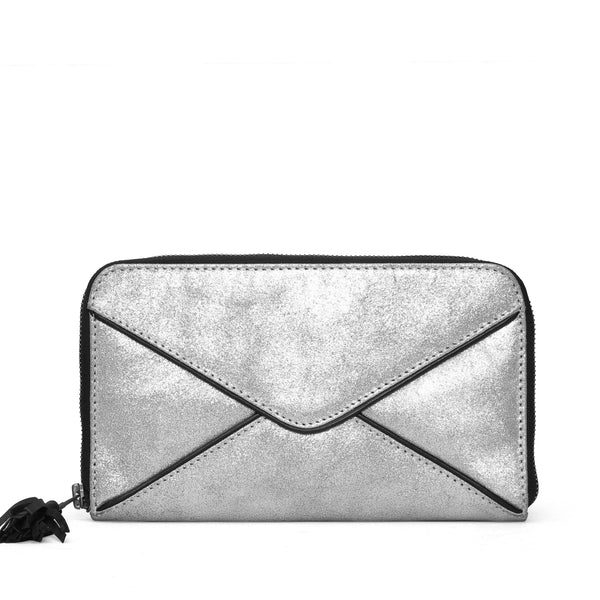 Women Clutch / Wallet In Shiny Silver Leather By Brune
