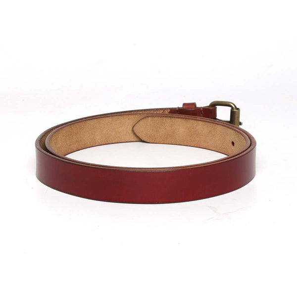 Wine Leather Antique Look Buckle Ladies Belt By Brune