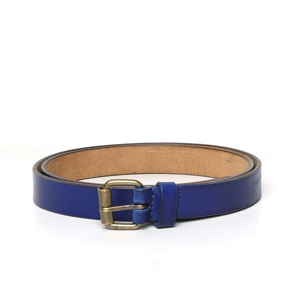 Blue Leather Antique Look Buckle Ladies Belt By Brune