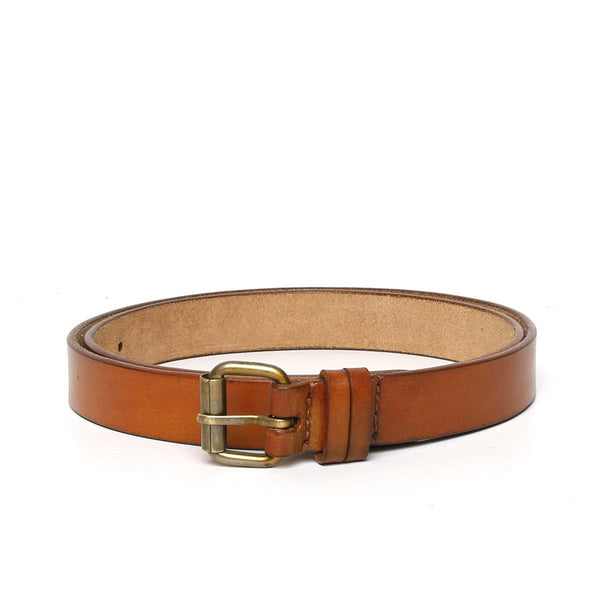 Tan Leather Antique Look Buckle Ladies Belt By Brune