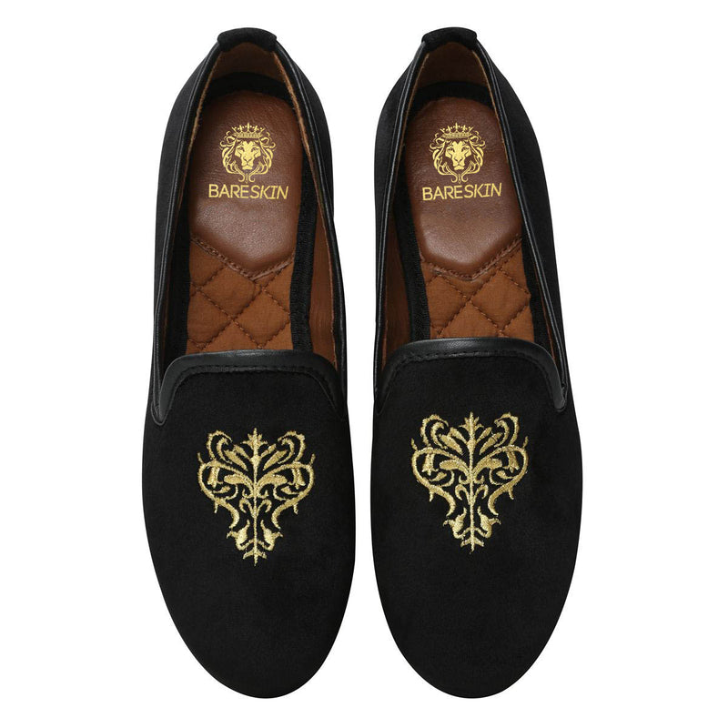 Bareskin Black Velvet Slip-Ons With Golden Embroidery For Women