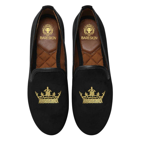Bareskin Black Velvet Slip-Ons With Golden Crown Embroidery For Women
