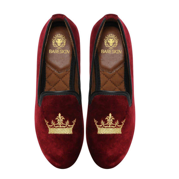 Bareskin Maroon Velvet Slip-Ons With Golden Crown Embroidery For Women