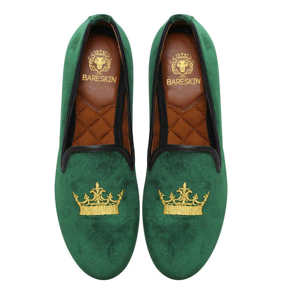 Bareskin Green Velvet Slip-Ons With Golden Crown Embroidery For Women