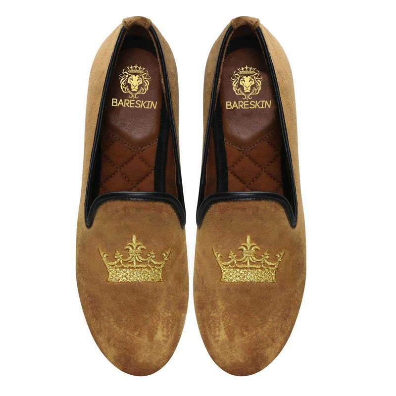 Bareskin Golden Tan Velvet Slip-Ons With Golden Crown Embroidery For Women