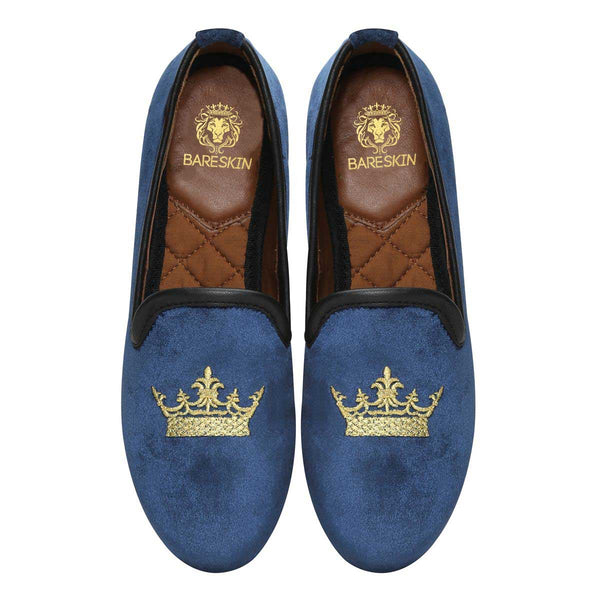 Bareskin Blue Velvet Slip-Ons With Golden Crown Embroidery For Women