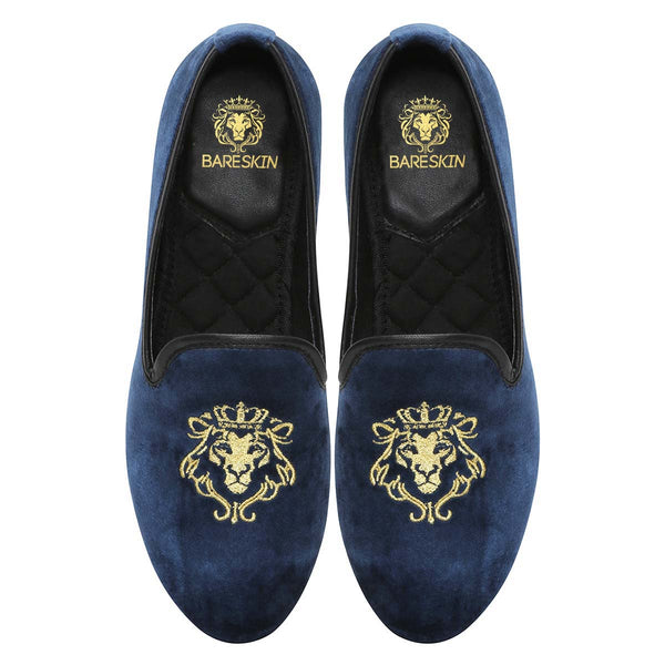 Bareskin Blue Velvet Slip-Ons With Golden Embroidery For Women