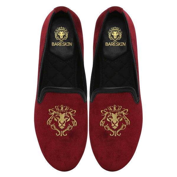 Bareskin Maroon Velvet Slip-Ons With Golden Embroidery For Women