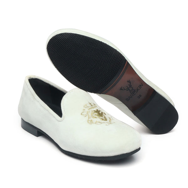 Bareskin White Velvet Slip-Ons With Golden Embroidery For Women
