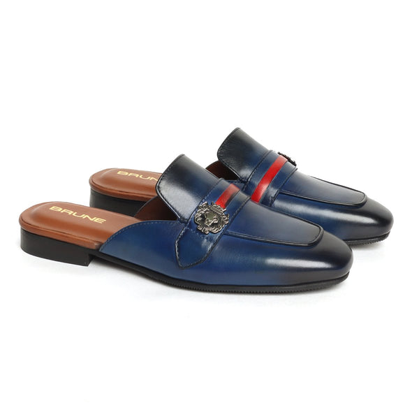 Women's Blue Leather Mules with Lion Badge & Contrasting Red/Blue Strap by Brune