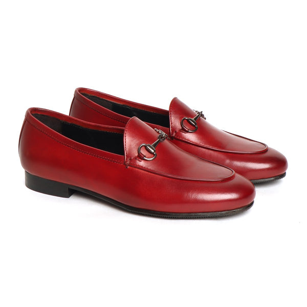 Women's Wine Leather Horsebit Slip-On By Brune