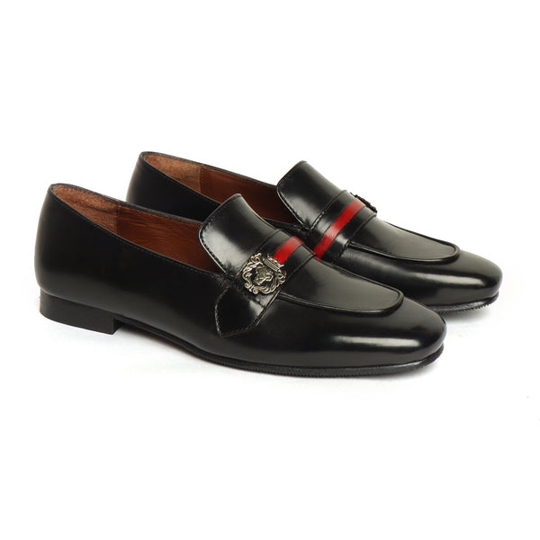 Women's Black Leather Slip-On with Lion Badge & Contrasting Red/Black Strap By Brune