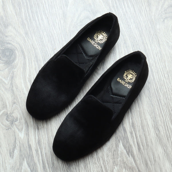 Bareskin Black Velvet Slip-Ons For Women