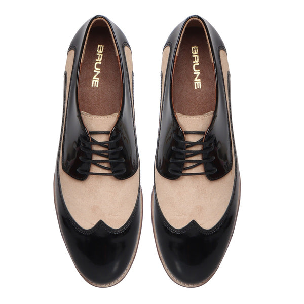 Women's Black Patent & Beige Suede Leather Derby Formal Shoes by Brune