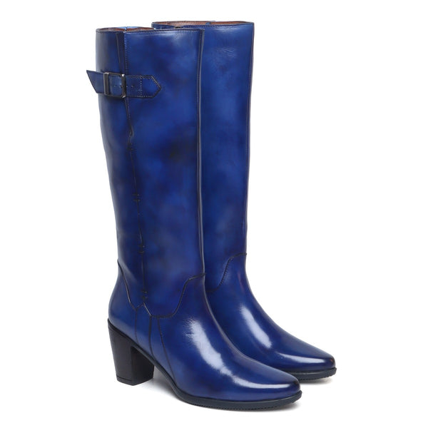 Blue Knee Height Blocked Heel With Buckle Detail Ladies Leather Boots By Brune