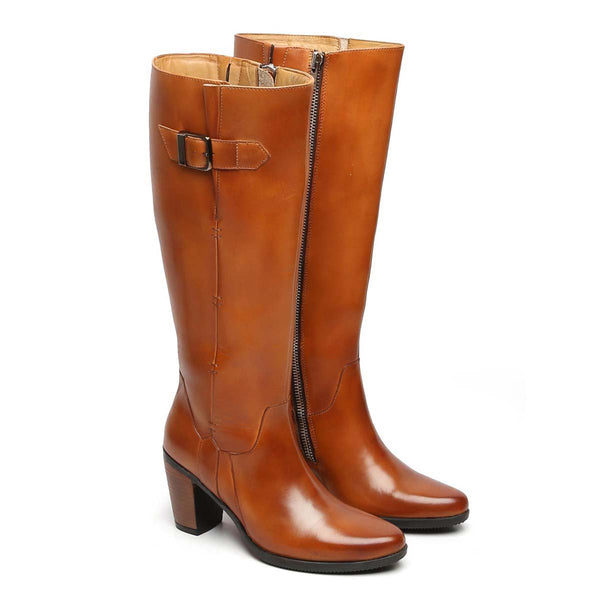 Tan Knee Height Blocked Heel Ladies Leather Boots By Brune