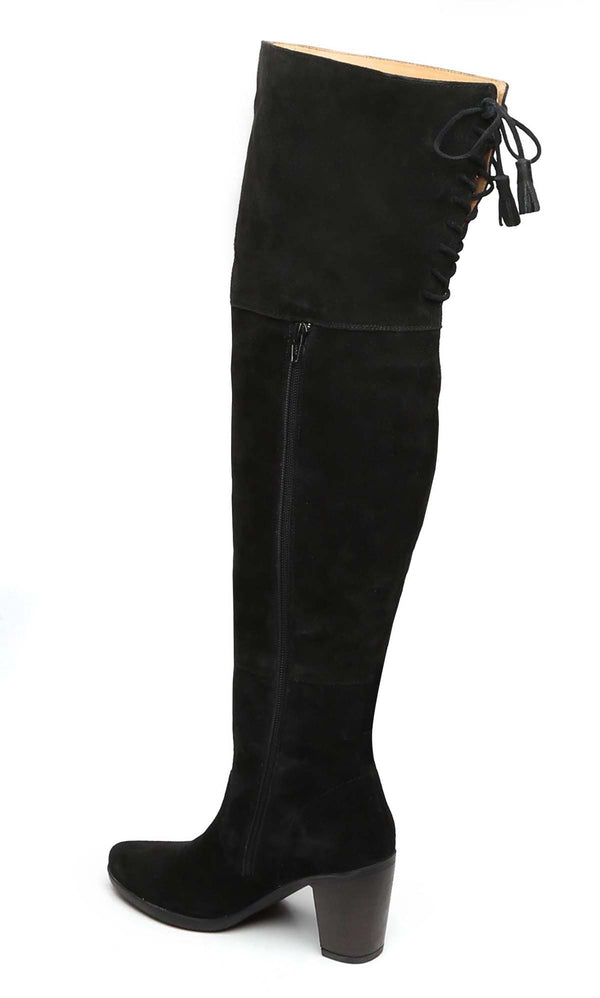 Black Suede Leather Top Lace Knee High Ladies Boots By Brune