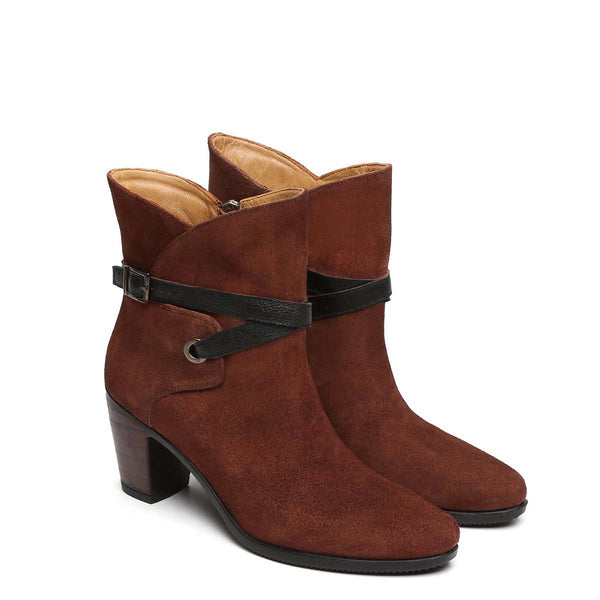 Brown Suede Leather High Ankle Black Strap Ladies Boots By Brune