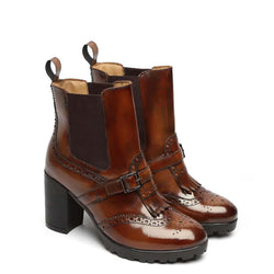 Patent Brown Brogue Monk Strap Ladies Chelsea Boots By Brune