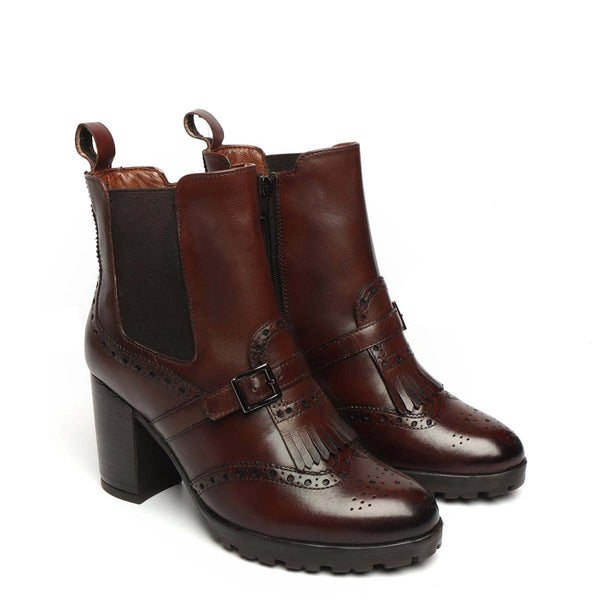 Dark Brown Brogue Monk Strap Fringes Ladies Chelsea Boots By Brune