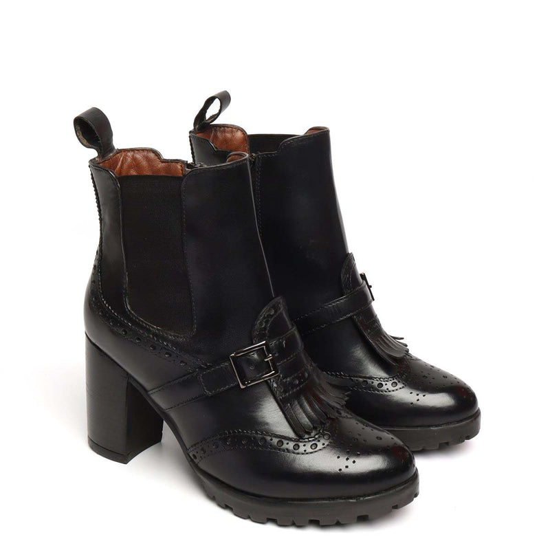 Black Brogue Monk Strap Fringes Ladies Chelsea Boots By Brune
