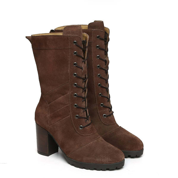 Brown Suede Leather Long Lace Up Ladies Boots By Brune
