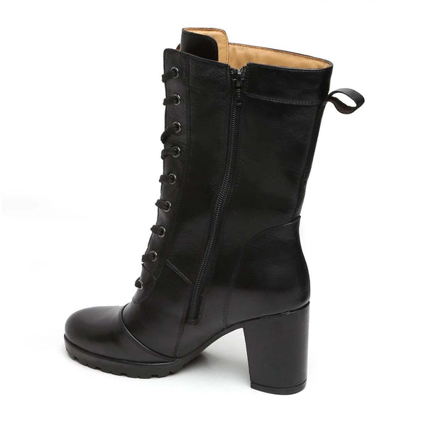 Black Leather Long Lace Up Ladies Boots By Brune