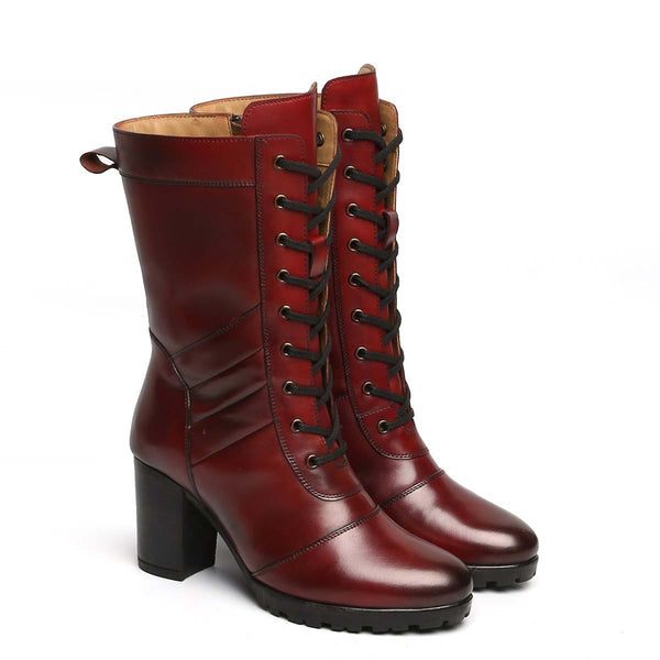 Wine Leather Long Lace Up Ladies Boots By Brune
