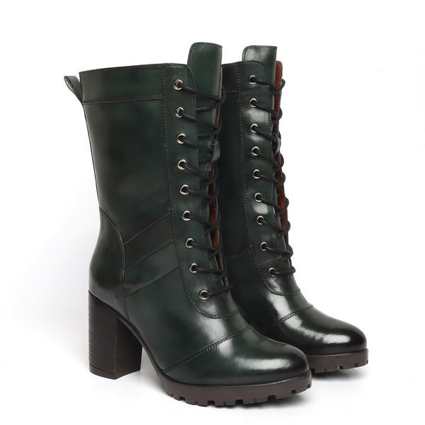 Green Leather Long Lace Up Ladies Boots By BRUNE