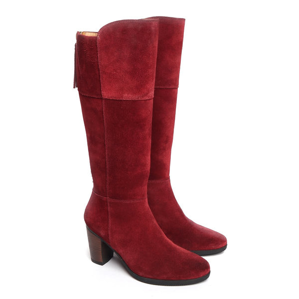 Red Suede Leather Knee Height Back Zip Ladies Boots By BRUNE