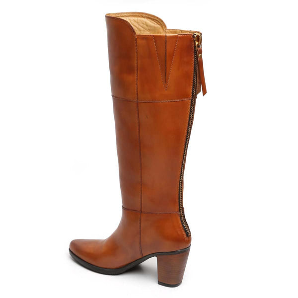 Tan Knee Height Back Zip Ladies Boots By Brune