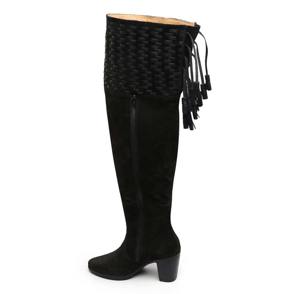 Black Suede Leather Top Hand Weave Knee High Ladies Boots By Brune